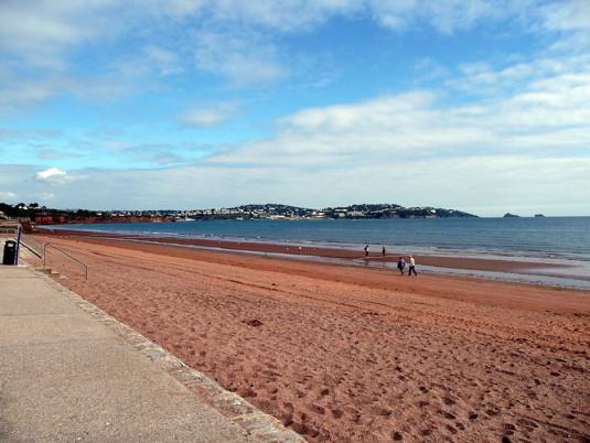 Paignton beachfront on a sunny day