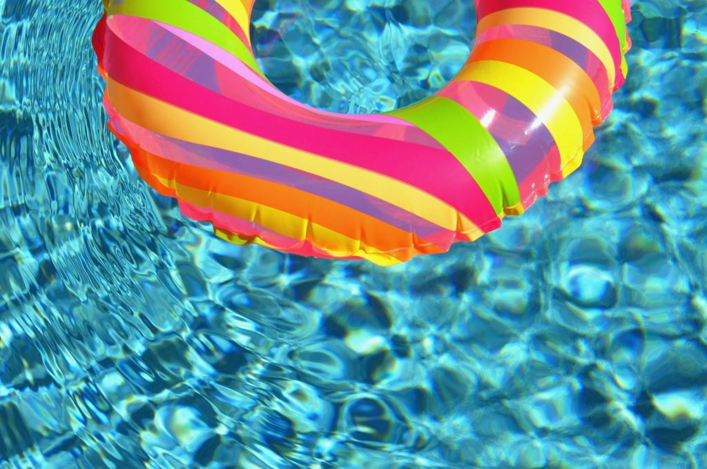 An inflatable ring in a pool.
